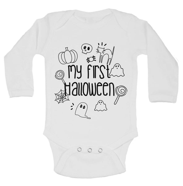 My First Halloween Funny Kids Onesie Funny Shirt Long Sleeve 0-3 Months