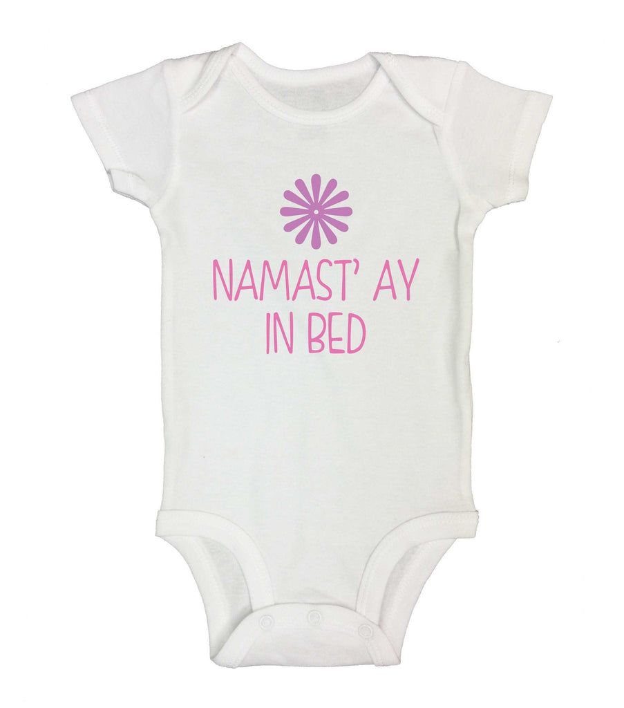 Namast' ay In Bed Funny Kids Onesie Funny Shirt Short Sleeve 0-3 Months