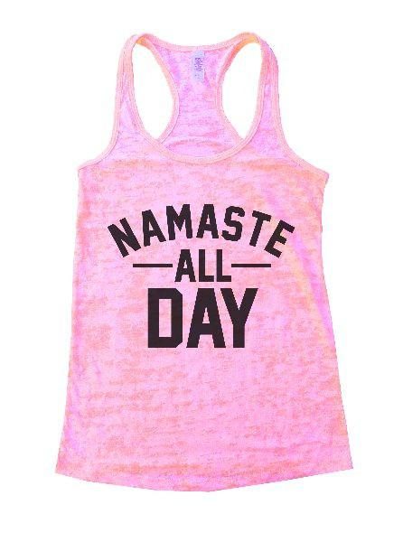 Namaste All Day Burnout Tank Top By Funny Threadz Funny Shirt Small / Light Pink