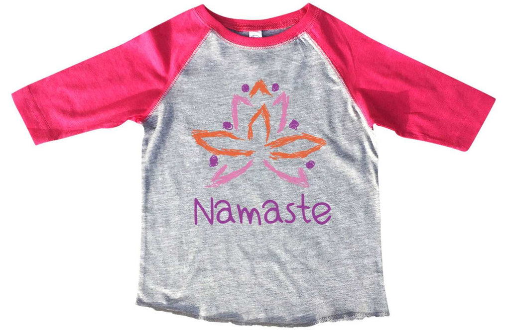 Namaste BOYS OR GIRLS BASEBALL 3/4 SLEEVE RAGLAN - VERY SOFT TRENDY SHIRT B290 Funny Shirt 2T Toddler / Pink