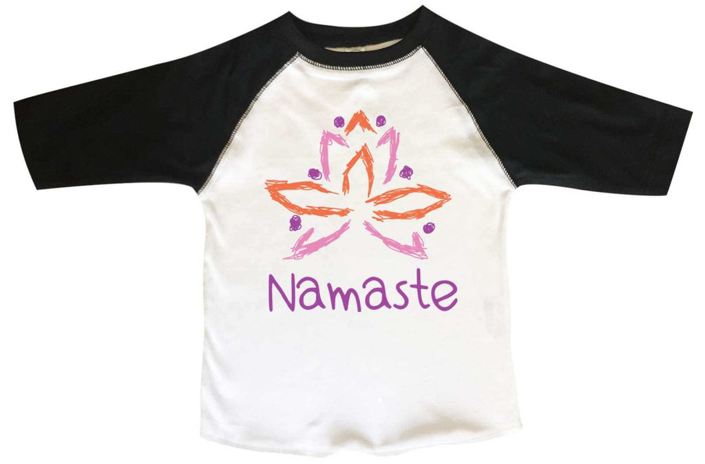 Namaste BOYS OR GIRLS BASEBALL 3/4 SLEEVE RAGLAN - VERY SOFT TRENDY SHIRT B290 Funny Shirt 2T Toddler / Black
