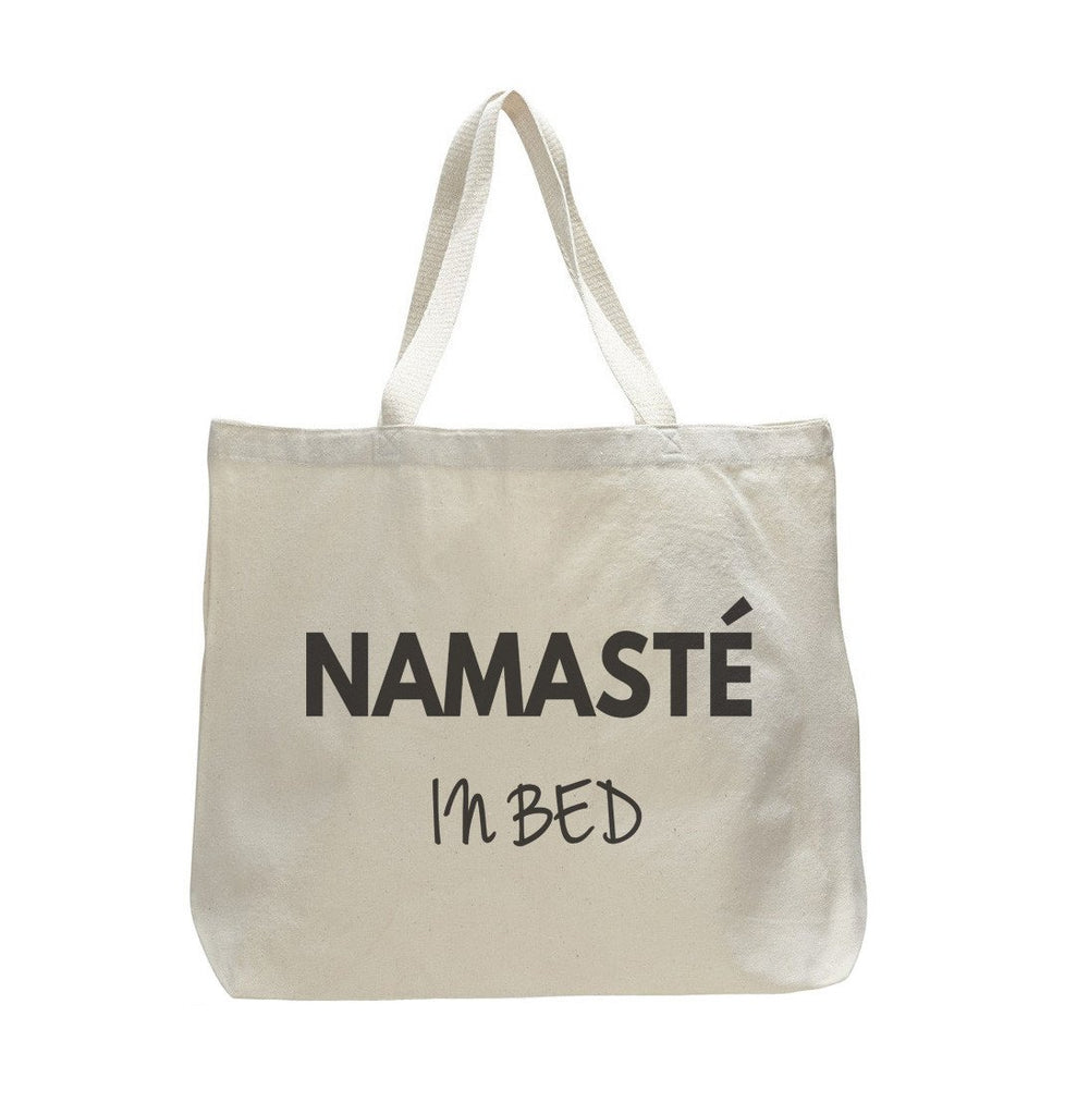 Namaste In Bed - Trendy Natural Canvas Bag - Funny and Unique - Tote Bag Funny Shirt