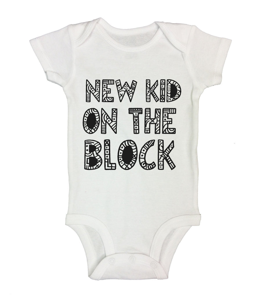 New Kid On The Block Funny Kids Onesie Funny Shirt Short Sleeve 0-3 Months
