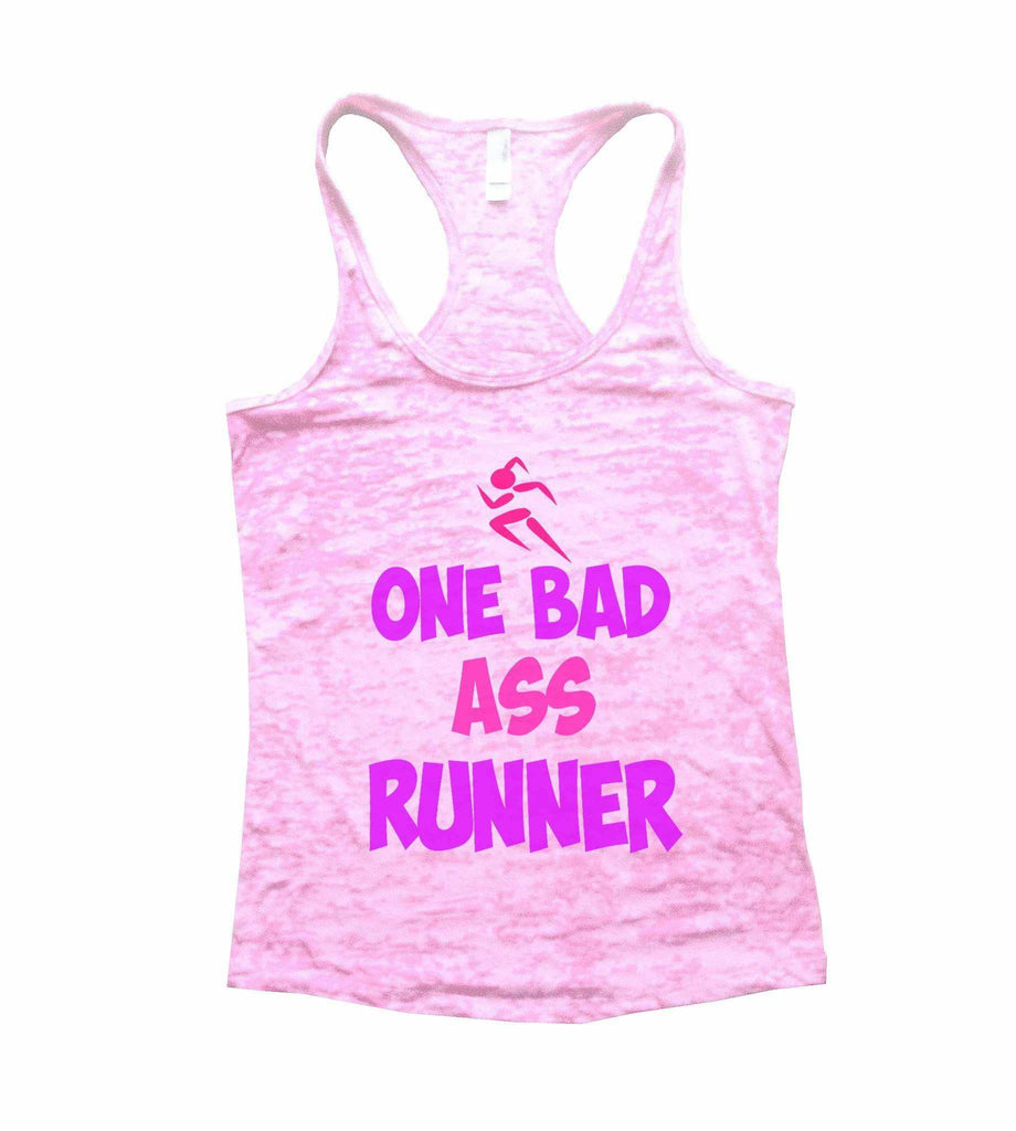 One Bad Ass Runner Burnout Tank Top By Funny Threadz Funny Shirt Small / Light Pink