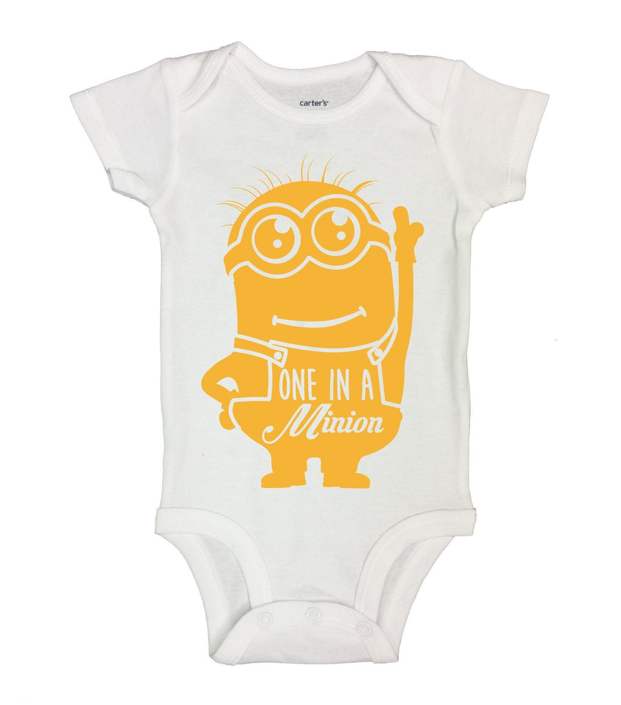 One In A Minion Funny Kids Onesie Funny Shirt Short Sleeve 0-3 Months