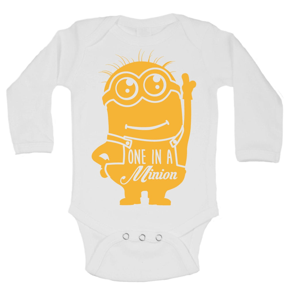 One In A Minion Funny Kids Onesie Funny Shirt Long Sleeve 0-3 Months