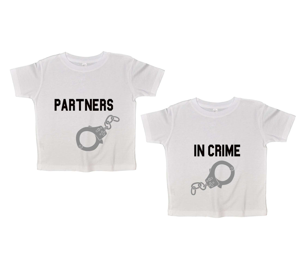 Partners In Crime Twin Funny Kids Onesie Funny Shirt 2T White Shirt
