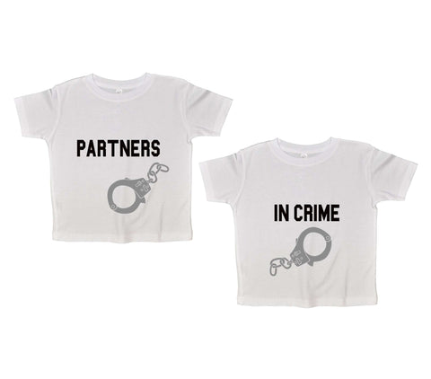 Partners In Crime Twin Funny Kids Onesie