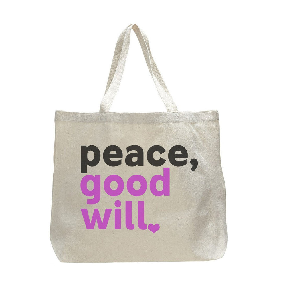 Peace, Good Will - Trendy Natural Canvas Bag - Funny and Unique - Tote Bag Funny Shirt