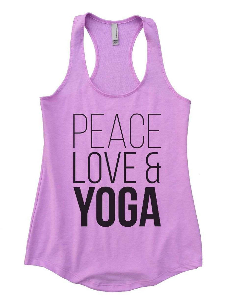 Peace Love Yoga Womens Workout Tank Top Funny Shirt Small / Lilac