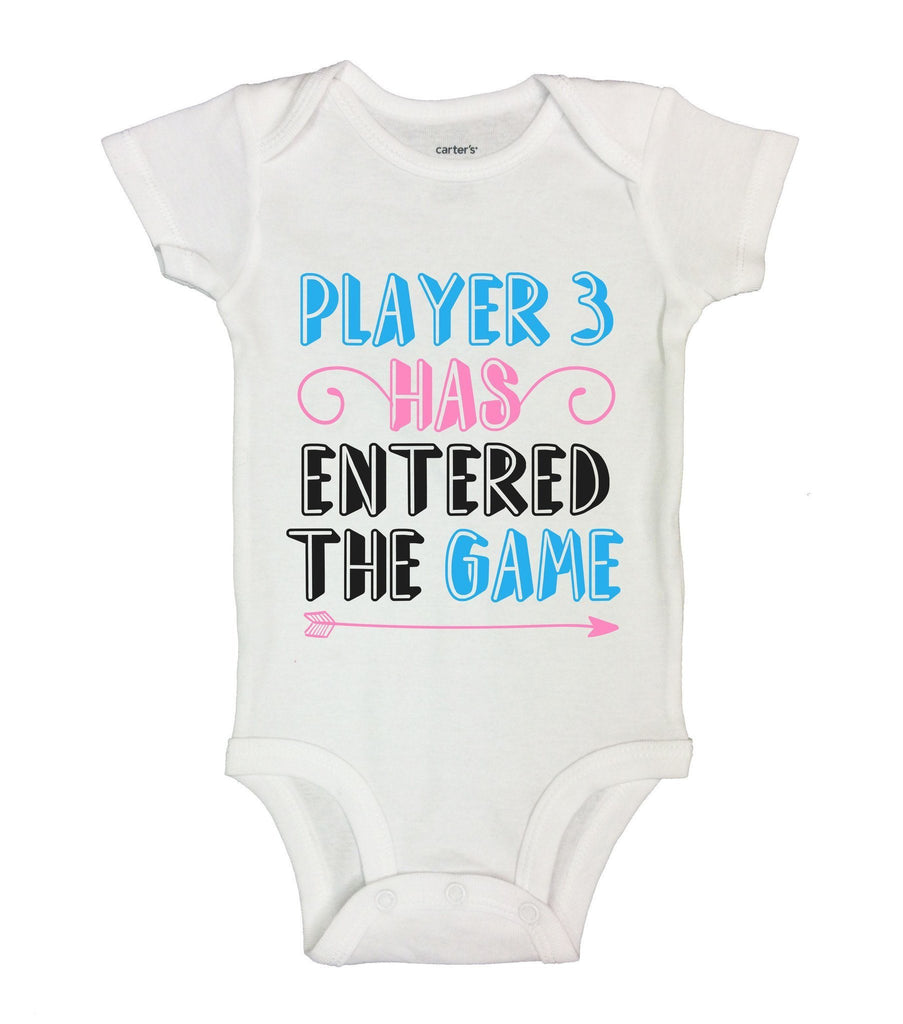 Player 3 Has Entered The Game Funny Kids Onesie Funny Shirt Short Sleeve 0-3 Months
