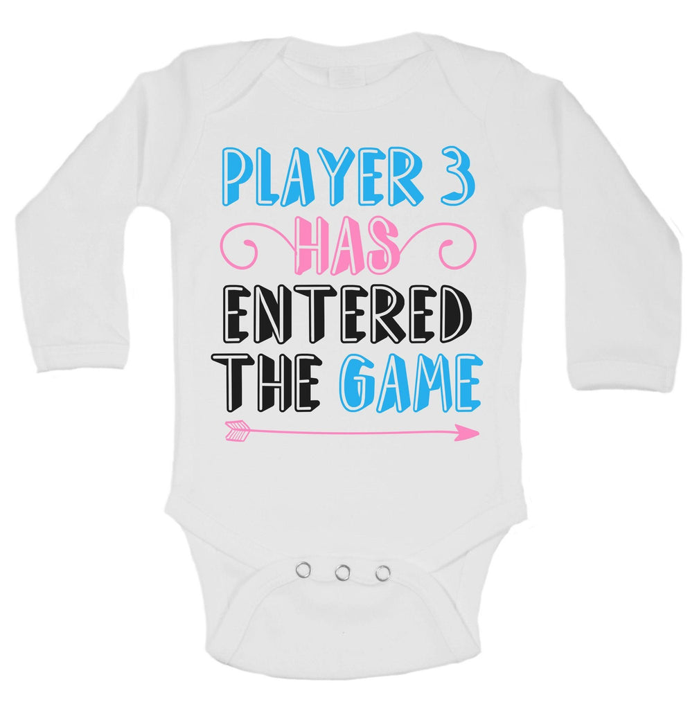 Player 3 Has Entered The Game Funny Kids Onesie Funny Shirt Long Sleeve 0-3 Months