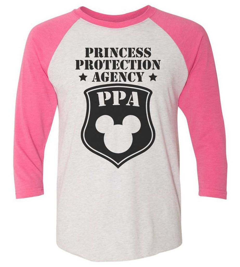 Princess Protection Agency - Raglan Baseball Tshirt- Unisex Sizing 3/4 Sleeve Funny Shirt X-Small / White/ Pink Sleeve