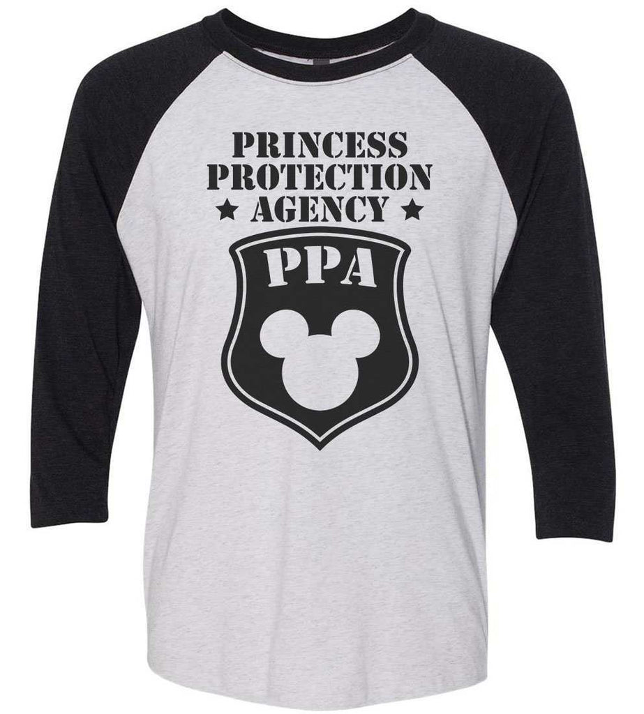 Princess Protection Agency - Raglan Baseball Tshirt- Unisex Sizing 3/4 Sleeve Funny Shirt X-Small / White/ Black Sleeve