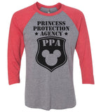 Princess Protection Agency - Raglan Baseball Tshirt- Unisex Sizing 3/4 Sleeve Funny Shirt X-Small / Grey/ Red Sleeve