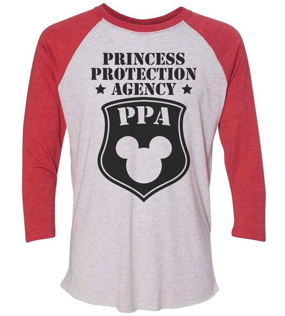 Princess Protection Agency - Raglan Baseball Tshirt- Unisex Sizing 3/4 Sleeve Funny Shirt X-Small / White/ Red Sleeve