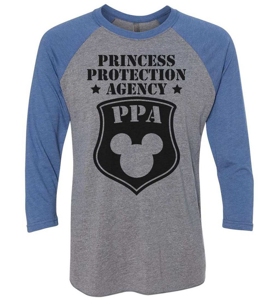 Princess Protection Agency - Raglan Baseball Tshirt- Unisex Sizing 3/4 Sleeve Funny Shirt X-Small / Grey/ Blue Sleeve