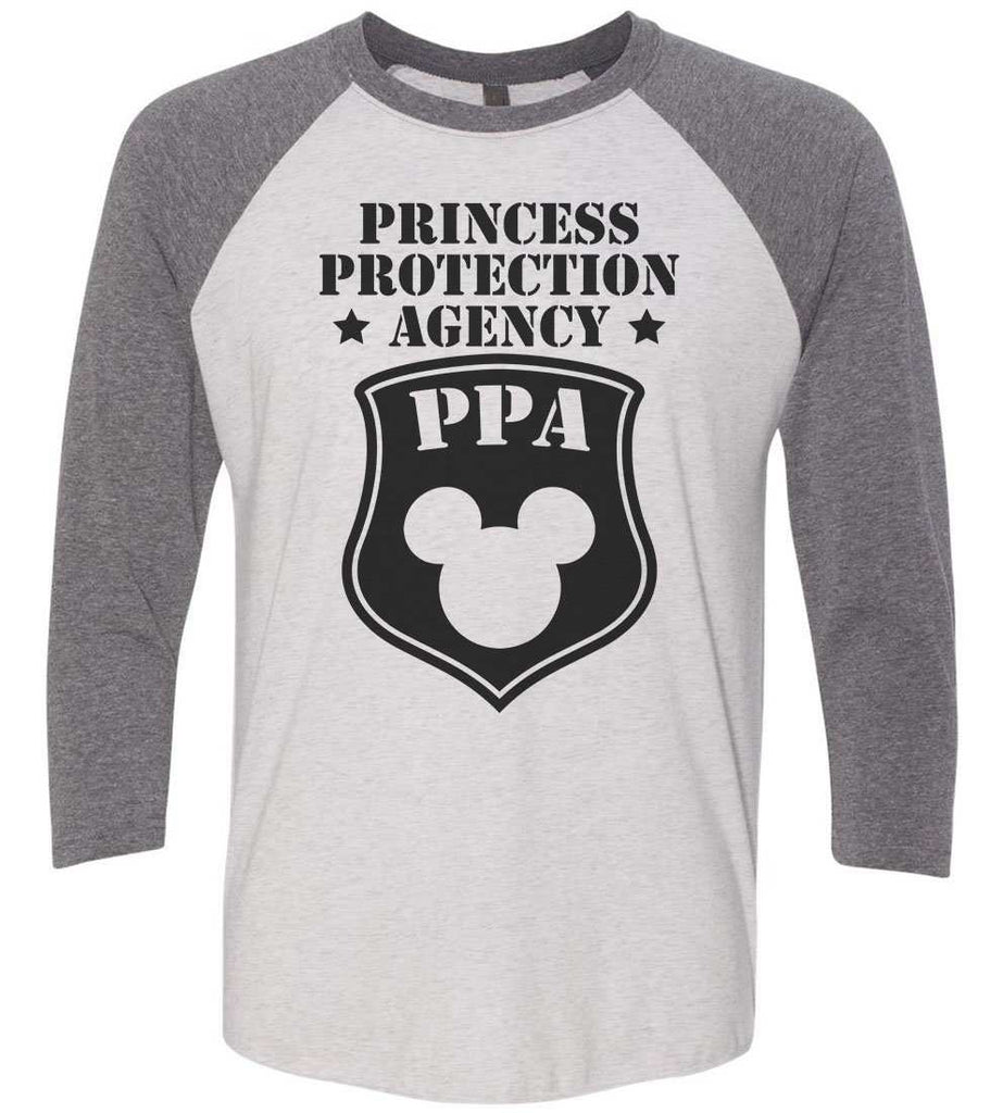 Princess Protection Agency - Raglan Baseball Tshirt- Unisex Sizing 3/4 Sleeve Funny Shirt X-Small / White/ Grey Sleeve