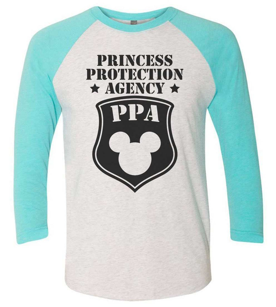 Princess Protection Agency - Raglan Baseball Tshirt- Unisex Sizing 3/4 Sleeve Funny Shirt X-Small / White/ Aqua Sleeve