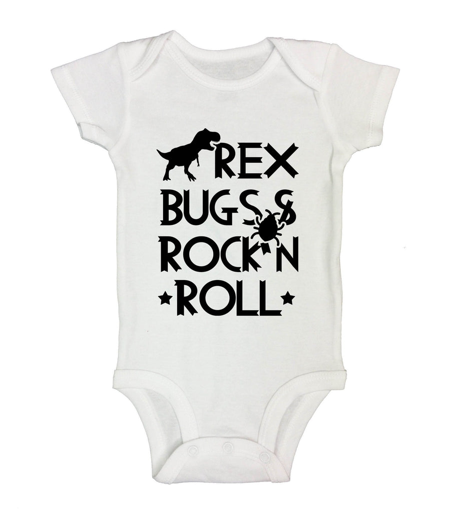 Rex Bugs & Rock'n Roll Funny Kids Onesie Funny Shirt Short Sleeve 0-3 Months