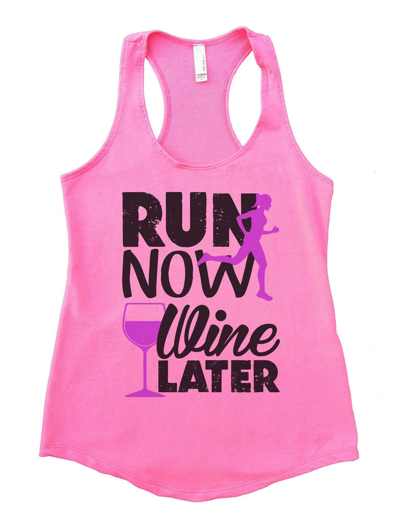 Run Now Wine Later Womens Workout Tank Top Funny Shirt Small / Heather Pink