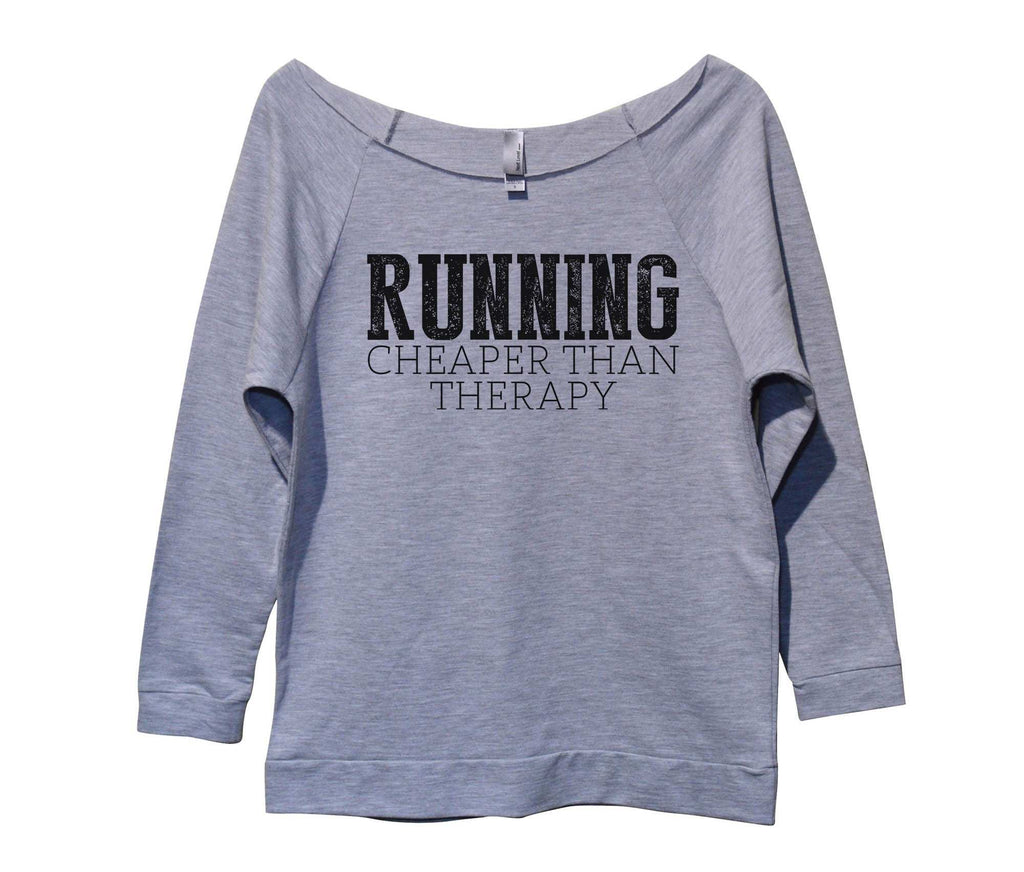 Running Cheaper Than Therapy Womens 3/4 Long Sleeve Vintage Raw Edge Shirt Funny Shirt Small / Grey