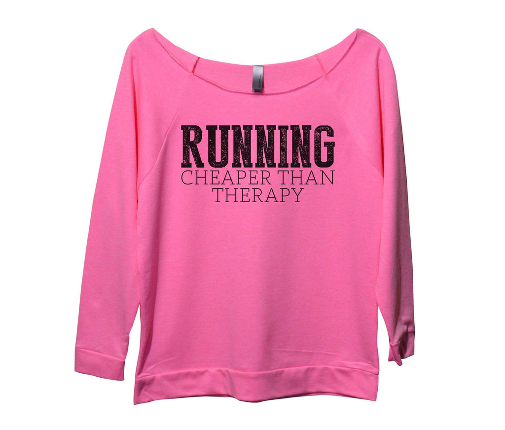 Running Cheaper Than Therapy Womens 3/4 Long Sleeve Vintage Raw Edge Shirt Funny Shirt Small / Pink