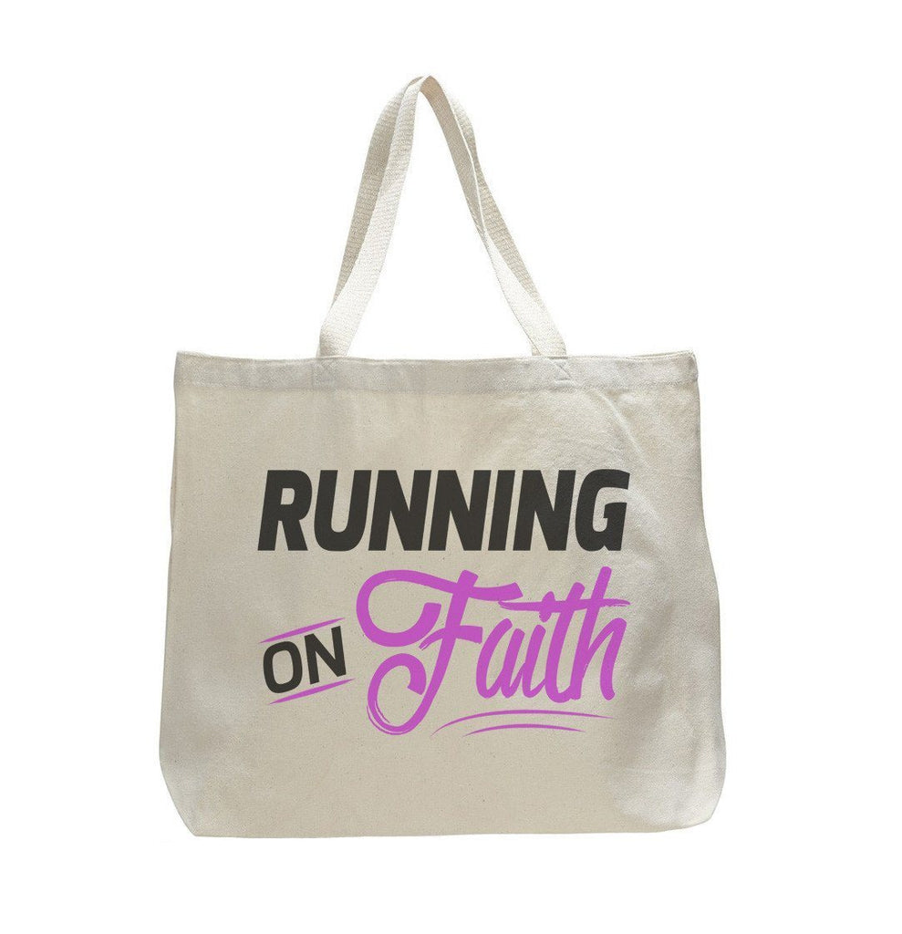 Running On Faith - Trendy Natural Canvas Bag - Funny and Unique - Tote Bag Funny Shirt