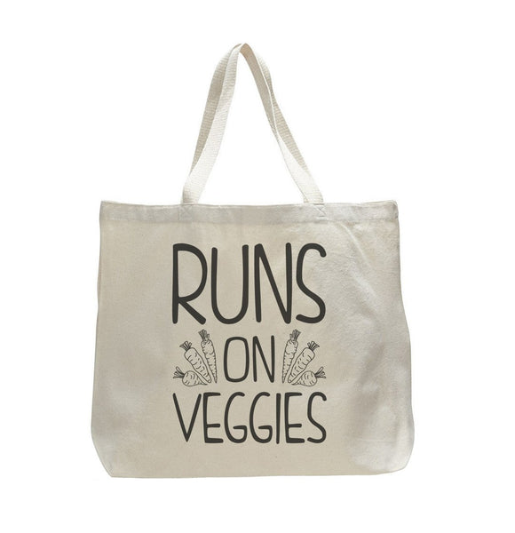 Runs On Veggies - Trendy Natural Canvas Bag - Funny and Unique - Tote Bag Funny Shirt
