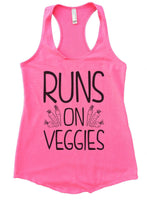 Runs On Veggies Womens Workout Tank Top Funny Shirt Small / Heather Pink