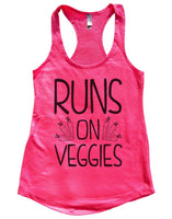 Runs On Veggies Womens Workout Tank Top Funny Shirt Small / Hot Pink