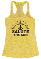 SALUTE THE SUN Burnout Tank Top By Funny Threadz Funny Shirt Small / Yellow