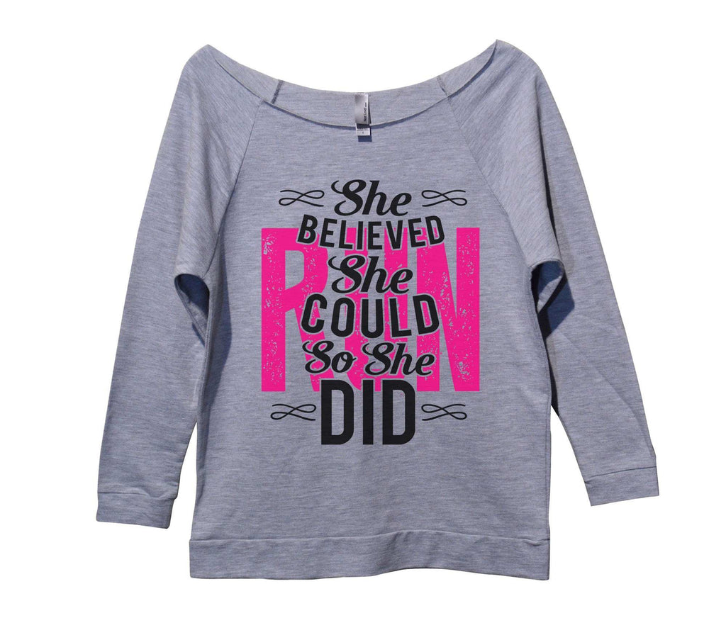 She Believed She Could Run So She Did Womens 3/4 Long Sleeve Vintage Raw Edge Shirt Funny Shirt Small / Grey