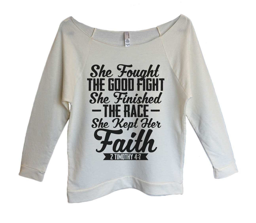 She Fought The Good Fight She Finished The Race she Kept Her Faith Womens 3/4 Long Sleeve Vintage Raw Edge Shirt Funny Shirt Small / Beige