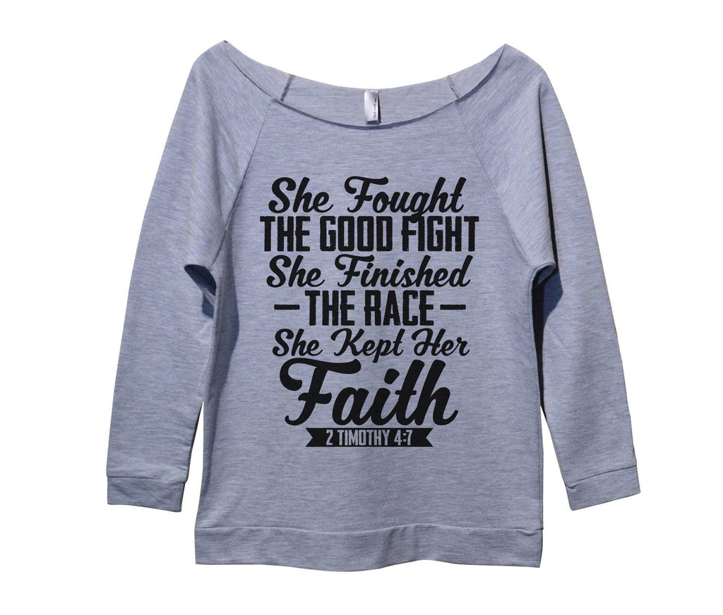 She Fought The Good Fight She Finished The Race she Kept Her Faith Womens 3/4 Long Sleeve Vintage Raw Edge Shirt Funny Shirt Small / Grey