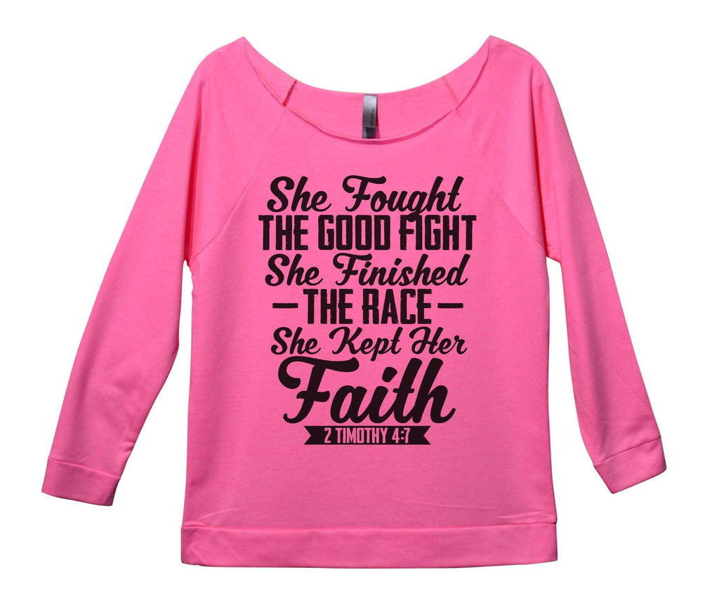 She Fought The Good Fight She Finished The Race she Kept Her Faith Womens 3/4 Long Sleeve Vintage Raw Edge Shirt Funny Shirt Small / Pink