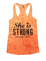 She Is Strong Proverbs 31:25 Burnout Tank Top By Funny Threadz Funny Shirt Small / Neon Orange