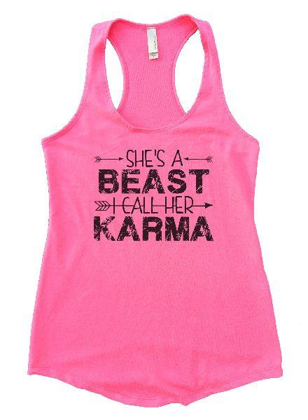 She's A Beast I Call Her Karma Womens Workout Tank Top Funny Shirt Small / Heather Pink