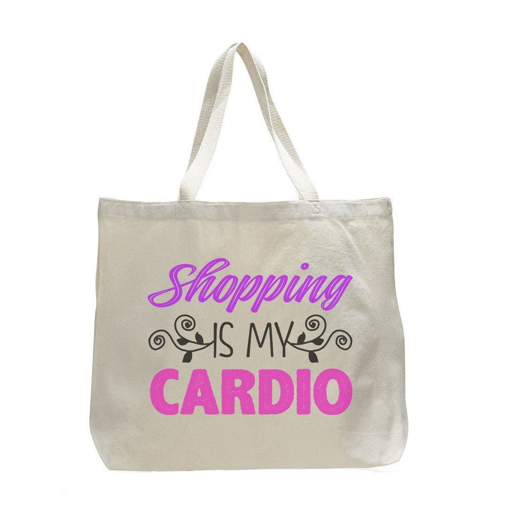 Shopping Is My Cardio Tote Grocery Bag - Trendy Natural Canvas Bag - Funny and Unique - Tote Bag Funny Shirt