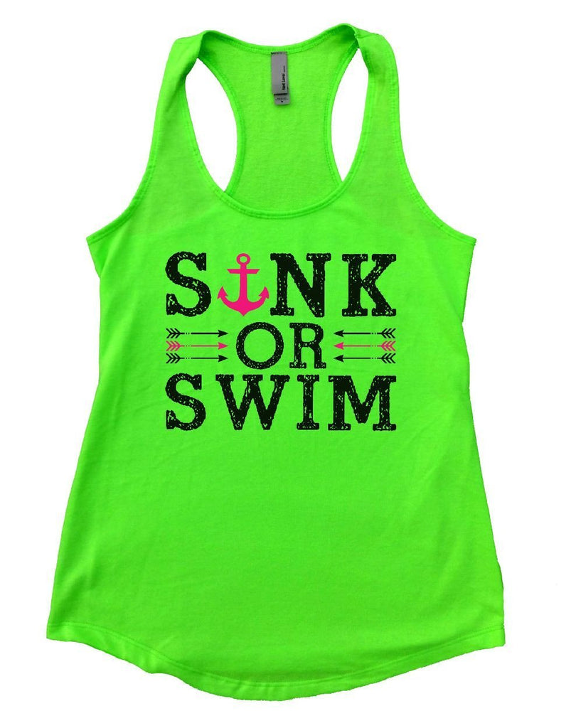 SINK OR SWIM Womens Workout Tank Top Funny Shirt Small / Neon Green