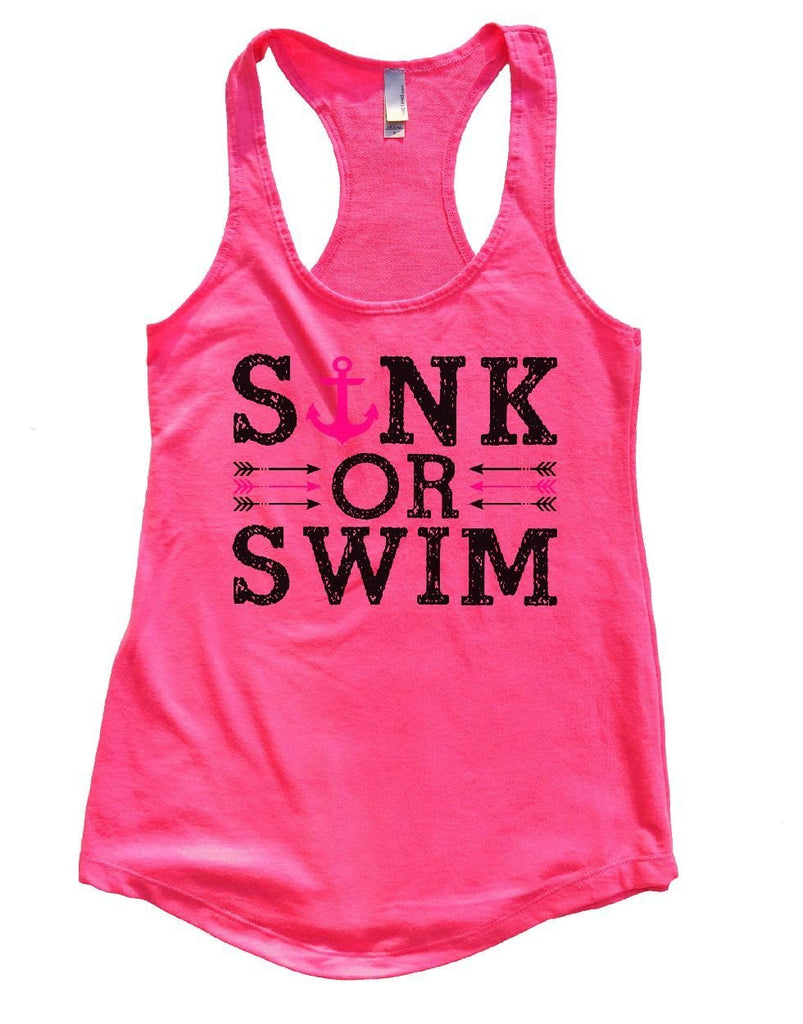 SINK OR SWIM Womens Workout Tank Top Funny Shirt Small / Hot Pink