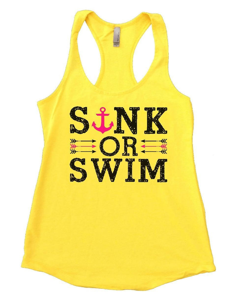 SINK OR SWIM Womens Workout Tank Top Funny Shirt Small / Yellow
