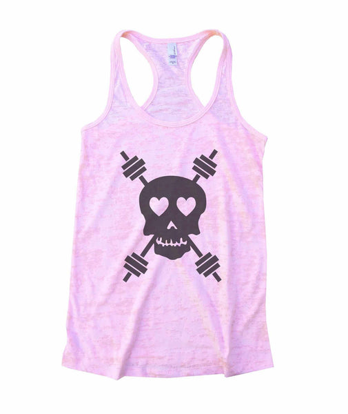 Skull And Weight Bars Burnout Tank Top By Funny Threadz Funny Shirt Small / Light Pink