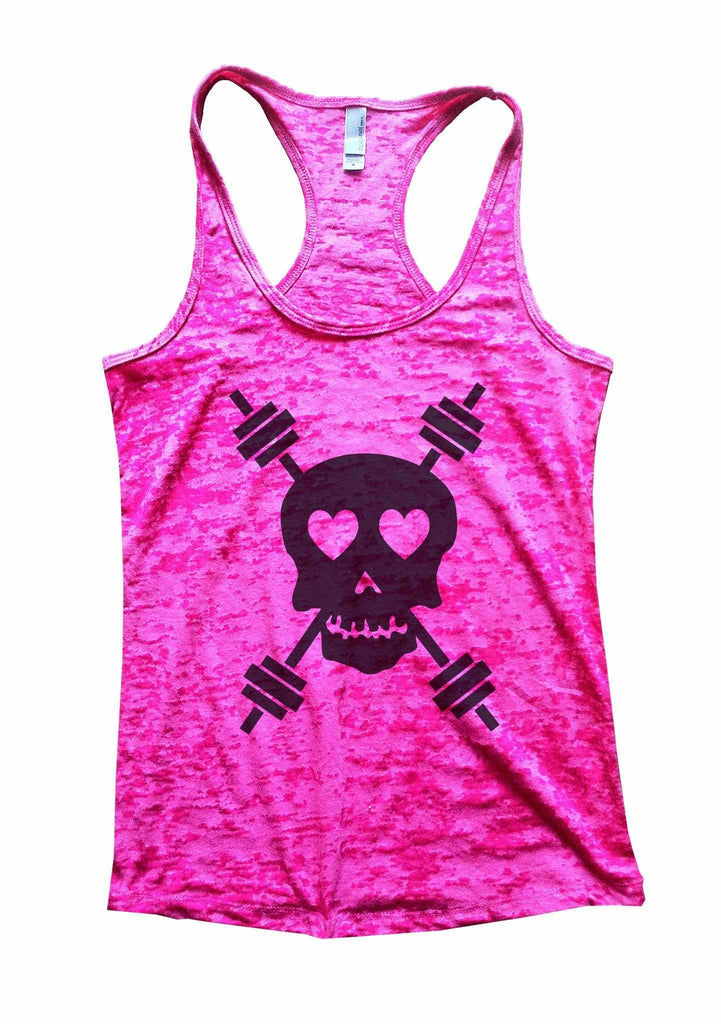 Skull And Weight Bars Burnout Tank Top By Funny Threadz Funny Shirt Small / Shocking Pink