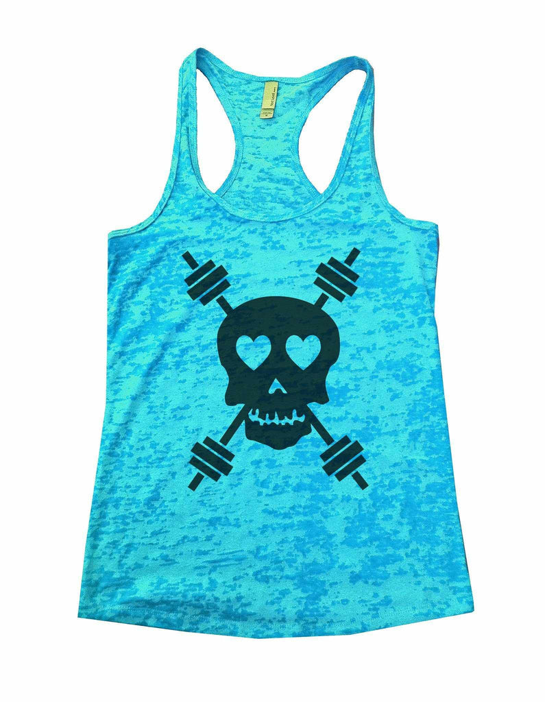 Skull And Weight Bars Burnout Tank Top By Funny Threadz Funny Shirt Small / Tahiti Blue