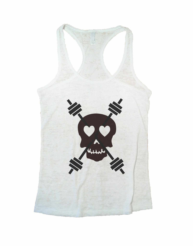 Skull And Weight Bars Burnout Tank Top By Funny Threadz Funny Shirt Small / White