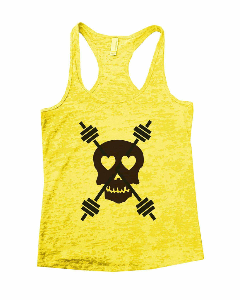 Skull And Weight Bars Burnout Tank Top By Funny Threadz Funny Shirt Small / Yellow