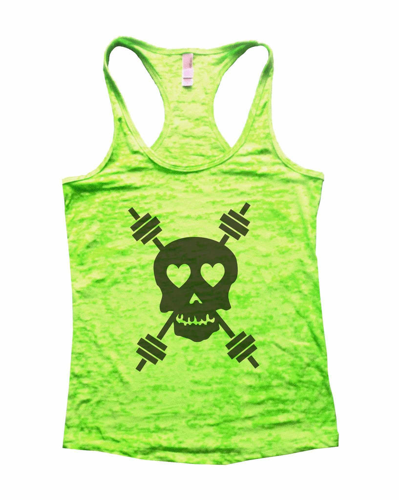 Skull And Weight Bars Burnout Tank Top By Funny Threadz Funny Shirt Small / Neon Green