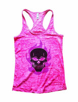 Skull Burnout Tank Top By Funny Threadz Funny Shirt Small / Shocking Pink