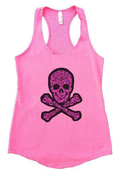 Skull Womens Workout Tank Top Funny Shirt Small / Heather Pink